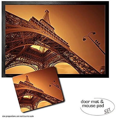 Set: 1 Fußmatte Türmatte (70x50 cm) + 1 Mauspad (23x19 cm) - Paris, Eiffelturm In Der Morgenröte