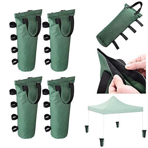 ReaseJoy 4 Pcs Gazebo Sandbag Weights Canopy Tent Feet Leg Weight Bag 600D Canvas Sand Bag Weight Green