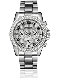 Shocknshop Paidu Men's Collection Stainless Steel Strap Silver Color Diamond Dial Mens Watch (W-90)
