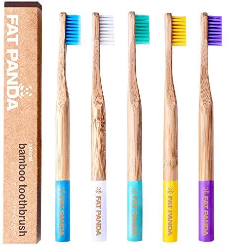 Bambus Zahnbürsten   Umweltfreundlich und biologisch abbaubaren Kunststoff frei Holzgriff   BPA-freie Mittel Borsten   Zahnbürste in schönen Farben   5 er Pack   Vegan   Perfekte eco Geschenke -