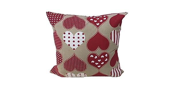 Amazonde Kissen Wohnzimmer Shabby Herz Rot Gepunktet Weiss 60 X Mbel Haus Sofa Bett Aus Baumwolle Halbmondform Srl Made In Italy