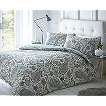 Pieridae Paisley Azul Juego de cama de funda de edredón y funda de almohada impresión digital funda de edredón de cama (Tamaño Doble King Cama Sofá, algodón poliéster, Gris, suelto