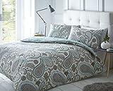 Pieridae Paisley Azul Juego de cama de funda de edredón y funda de...