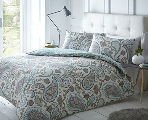 Pieridae Paisley Teal Duvet Cover & Pillowcase Set Bedding Digital Print Quilt Case Single Double King Bedding Bedroom Daybed (Double) by Pieridae