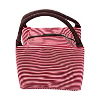Manadlian Lunch Bag, Insulated Thermal Portable Package Waterproof Canvas Stripe Lunch Food Bags Office for Picnic (23*17*15cm, Red)