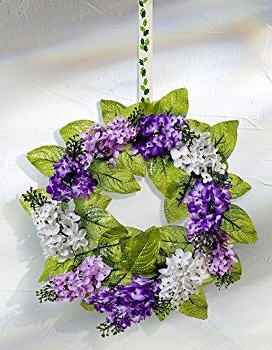 GKA wunderschöner üppiger Flieder Türkranz Wandkranz Kranz 28 cm Kunstblume lila weißer Flieder Deko