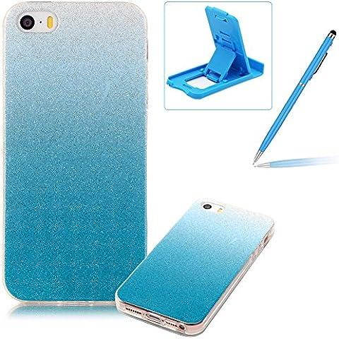 iPhone SE Caja de goma de silicona resistente a los arañazos,iPhone 5S Ajuste perfecto La caja del gel de parachoques suave,Herzzer Luxury Elegante [Gradiente de color luz de las estrellas] Piel del arco iris del brillo de la jalea ligero flexible Gel Shell protector de la contraportada para iPhone SE/iPhone 5/5S + 1 x Azul pata de cabra + 1 x Azul Lápiz óptico - Azul