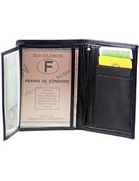 Portefeuille Monnaie Cartes Permis Certificat Cuir Noir Homme Femme