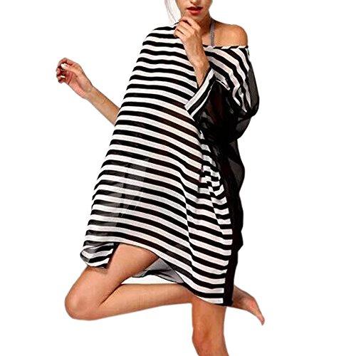 JBY Strandponcho Damen Sommerkleider Strandkleid große größen Poncho Bikini Cover Up Sommer Chiffon Strandhemd mit Pompon Quasten Lose Oberteile Beachwear Minikleider Boho Bademode (one size, Style3) (Umstandsmode Frauen Groß)