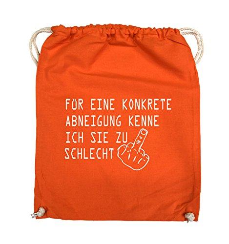 Comedy Bags - FÜR EINE KONKRETE ABNEIGUNG - FUCK FINGER - Turnbeutel - 37x46cm - Farbe: Schwarz / Silber Orange / Weiss