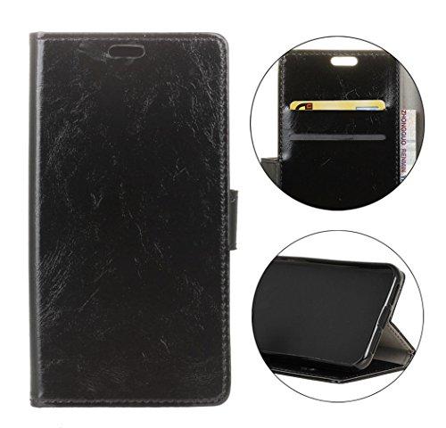 Handy-fällen Crazy (Hülle Für ZTE Blade A6 Premium/ZTE Blade A6,Sunrive Magnetisch Schaltfläche Ledertasche Schutzhülle Case Handyhülle Schalen Handy Tasche Lederhülle(crazy-Pferd schwarz)+Gratis Universal Eingabestift)