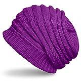 CASPAR MU081 Unisex Winter Strick Beanie, Farbe:lila;Größe:One Size
