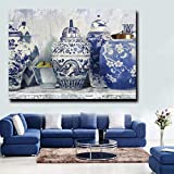 Stampa digitale blu senza cornice murale su tela bellissimo vaso e combinazione di animali illustrazione Stampa HD Decorazione in stile classico cinese per manifesti d'arte (senza cornice) A1 30x45 cm