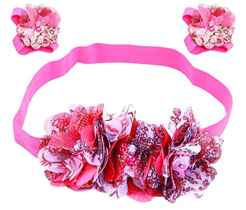 AkinosKIDS Newborn Rosette Pearl Baby Headbands and Pearl Flower Barefoot Sandal set