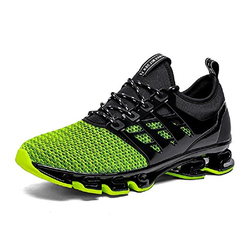 NEOKER Mens Trainers Breathable Casual Running Shoes Lace Up Sports Sneakers Fitness Gym Green 45