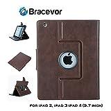 #10: Bracevor Premium Leather Smart Case for Apple iPad 2, iPad 3, iPad 4 (9.7 inch): Auto Sleep/Wake, Rotating Stand, Flip Cover - Executive Brown