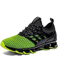 NEOKER Zapatillas Running Hombre Sneakers Calzado Deportivo Aire Libre y Deporte Gimnasia Respirable Negro Gris Rojo Verde 39-45