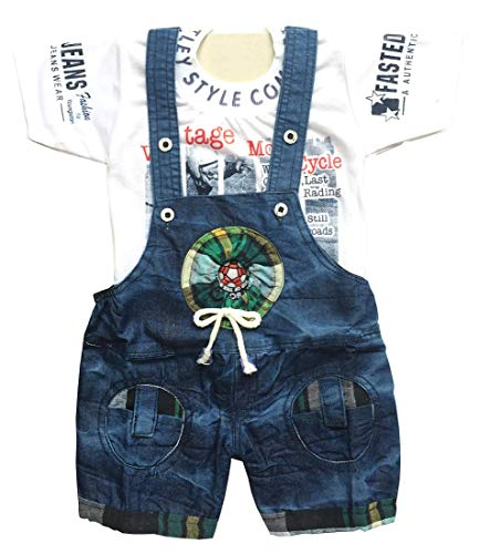 Manraj collection Baby's Half Sleeves Denim Dungaree with Soft Cotton T-Shirt Hosiery Dress (Blue, 6-12 Months)