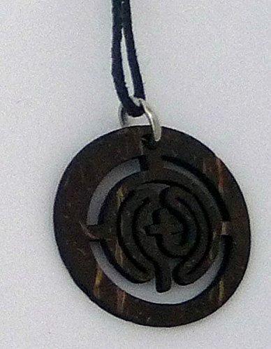 Anhänger 'Labyrinth', aus Kokosschale,mit Band,ca.3cm