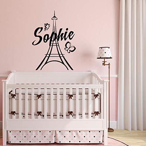 Paris Wandtattoos Vinyl Aufkleber Mädchen Name Paris Thema Schlafzimmer Dekor Eiffelturm Aufkleber Wandbild Kindergarten Kinder 57 * 89 cm ()