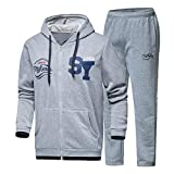 Kobay Herren Herbst Winter Hooded Print Sweatshirt Top Hosen Sets Sportanzug Trainingsanzug(L,Grau)