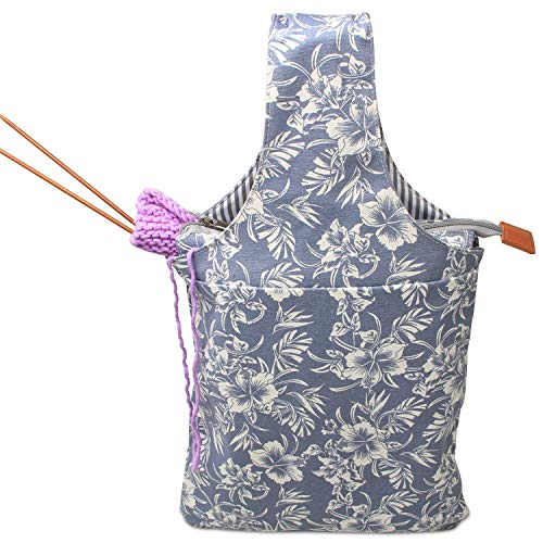 Teamoy tragbar Aufbewarungstasche für wolle, Stricknaden, häkeln, leicht zu tragen, perfekte Größe für stricken unterwegs, (Kein Zubehör im Lieferumfang enthalten), Blumen -