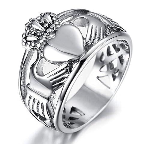 JewellryUS Edelstahl Ring Irish Celtic Knot Irischen Keltisch Knoten Iren Claddagh Freundschaft Liebe Herz Königliche König Krone Polished,Silber