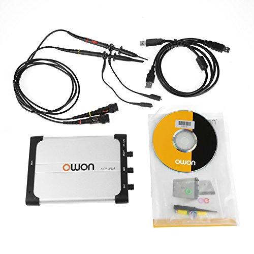 OWON Oszilloskop VDS1022I, Virtual Oszilloskop Spektrumanalysator Datenrekorder PC Portable Design Oszilloskop mit Dual Channel USB Speicher mit einer Bandbreite von 25Mhz