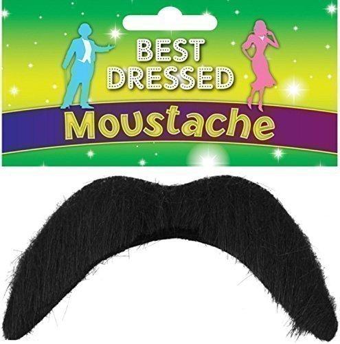 Herren Schnurrbart Schwarz 70er 118 118 Mario Luigi Mexikaner 60er Schnurrbart Verkleidung Kostüm (Kostüm Mario Für Jungs)
