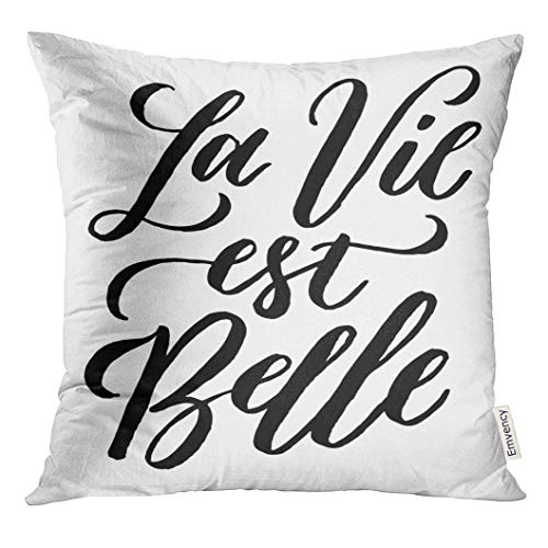 jiilwkie Throw Pillow Cover French Quote La Vie Est Belle Meaning Life is Beautiful Unique Inspirational Hand Lettering Bags Blogs Decorative Pillow Case Home Decor Square 18