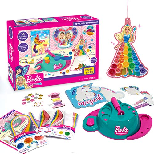 Quill On Barbie Themed Quilling Spyrosity Craft Kit to Make Cards, Photo Frame, Book Cover, Magnets and Hangings with Patent Pending Motorised Tool for Girls (5+ Years)