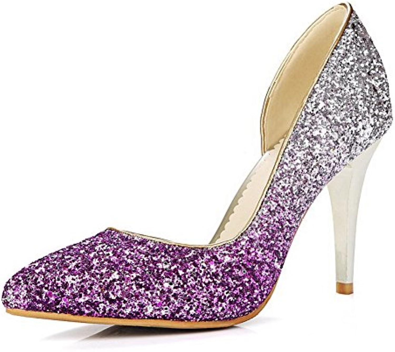 AgooLar Damen Pailletten Ziehen auf Spitz Zehe Stiletto Rein Pumps Schuhe