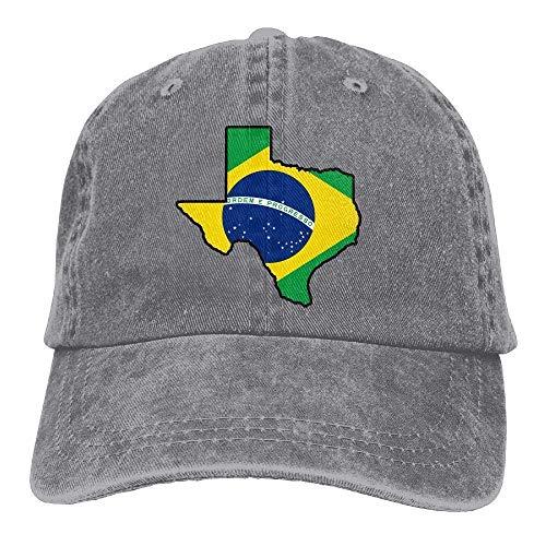 deyhfef Brasilien-Flaggen-Texas-Karten-Weinlese-Denim-Baseballmütze-justierbarer Vati-Hut Unisex Unisex4 -