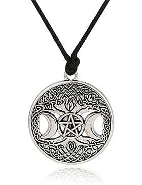 Triple Moon Göttin Anhänger Baum des Lebens Halskette Pentagramm Pentagramm Wicca