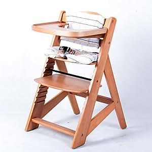 tiggo hc6551 d01 chaise haute en bois r glable pour b b cr me b b s pu riculture. Black Bedroom Furniture Sets. Home Design Ideas