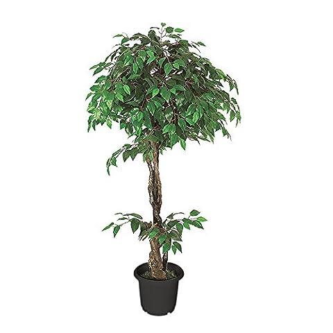 Ficus Benjamin Birkenfeige Kunstpflanze Kunstbaum Künstliche Pflanze mit Echtholz 160cm Decovego