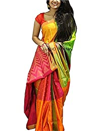 Harikrishnavilla Women's Silk Cotton Ready Pleated Saree With Blouse Piece (Yellow Moson New_Yellow)