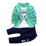 Covermason Niños Falso dos Camisa Tops y Largo Pantalones (1 conjunto) (2Años, Verde)