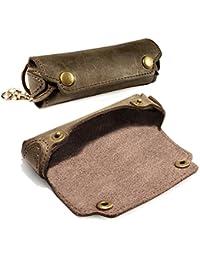 Tuff-Luv Personnalisé (Par exemple un nom ou une inscription de votre choix) Case Harmonica Rustique en cuir occidental avec boucle de ceinture - Marron