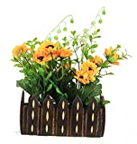 Parishi & W Artificial Mix flower glowing arrangement in wooden Pot