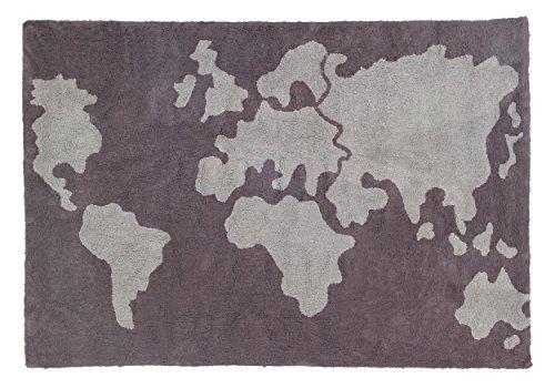 Lorena Canals mapa del mundo alfombra lavable (oscuro/luz gris)