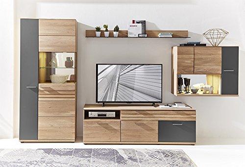 Wohnzimmerschrank, Wohnwand, Schrankwand, Anbauwand, Fernsehwand, Wohnzimmerschrankwand, Wohnschrank, Wildeiche, Graphit, Hochglanz, Beleuchtung - 2