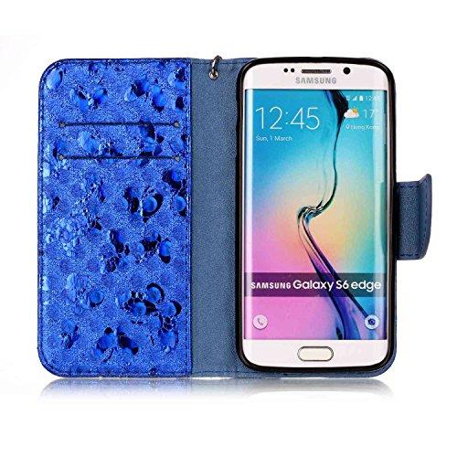 Galaxy S6 Edge Custodia, Custodia Samsung Galaxy S6 Edge G925, Samsung Galaxy S6 Edge Custodia Portafoglio Pelle, JAWSEU [Shock-Absorption] Lusso 3D Goffratura Fiore Farfalla Wallet Leather Flip Cover Farfalla, Blu