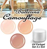 BALLERINA Camouflage Farbgel Set 3x 5ml