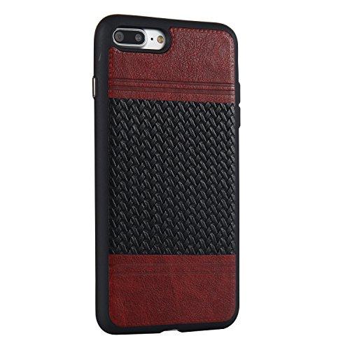 Apple iPhone 7 Plus 5.5 hülle, Voguecase Schutzhülle / Case / Cover / Hülle / TPU+PU Gel Skin Mit Knopf (Weben Muster/Rosa und Braun) + Gratis Universal Eingabestift Weben Muster/Braun und Schwarz