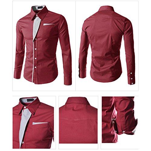 Juleya Camicia Uomo Slim Fit Camicie Formale Manica Lunga Casual Top Tinta Unita Tops Camicia Moderna Morbida e Confortevole vino rosso