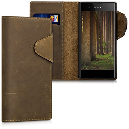 kalibri-Hlle-fr-Sony-Xperia-XA1-Plus-Echtleder-Wallet-Case-Schutzhlle-mit-Fach-und-Stnder-in-Braun