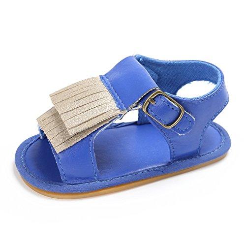 MiyaSudy Chaussures Bébé Fille Tout Petit Princesse PU Cuir Antiglisse Houppe Sandales Chaussures Bleu