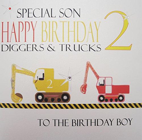 WHITE COTTON CARDS groß Bagger und LKW, Special Son Happy Birthday 2Bagger und Lastwagen handgefertigt 2nd Birthday (Birthday Lkw-happy)