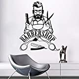 hllhpc Barber Shop Signe Sticker Barbershop Logo Hipster Sticker Mural Décor Beauté Salon Mural Coiffure Papier Peint57 * 69cm